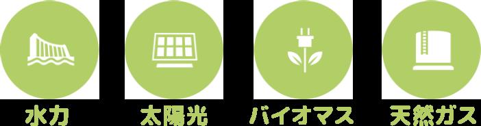 水力・太陽光・バイオマス・天然ガス